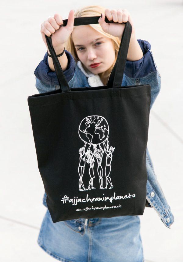 Bavlnená ekologická taška aj ja chránim čierna plasty