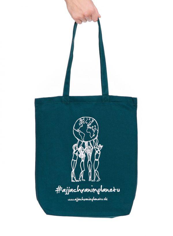 Bavlnená ekologická taška aj ja chránim zelená