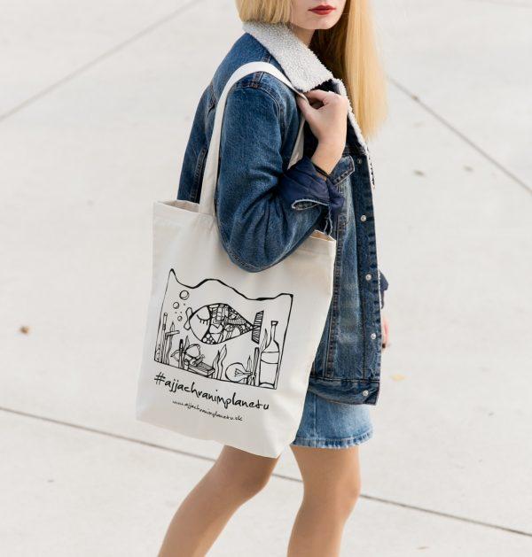 Bavlnená ekologická taška aj ja chránim biela nakupovanie planétu
