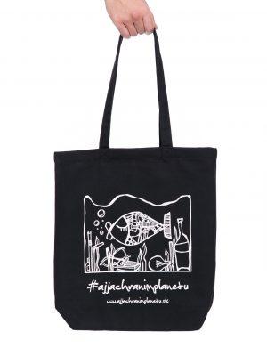 Bavlnená ekologická taška aj ja chránim planétu čierna