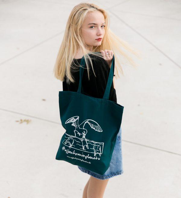 Bavlnená ekologická taška aj ja chránim planétu nakupovanie