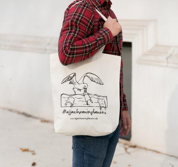 Bavlnená ekologická taška aj ja chránim planétu plasty