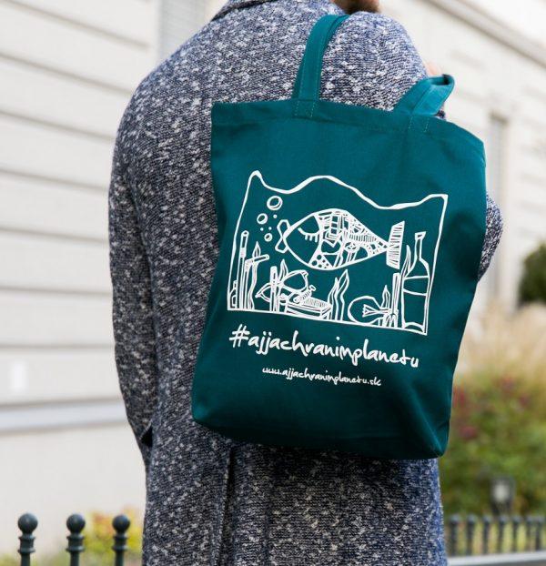 Bavlnená ekologická taška aj ja chránim planétu zelená plasty